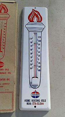 Vintage 1960 Standard Oil Gas Heating Thermometer Sta-Clean Nos New Old Stock