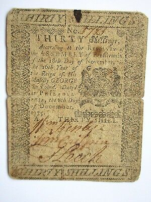 Colonial Currency Pennsylvania 1775, 30s, Fine-Very Fine