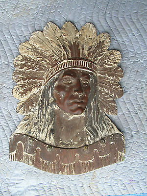 Early Wooden Antique Hand Carved American Indian in Headdress Large Wall Plaque