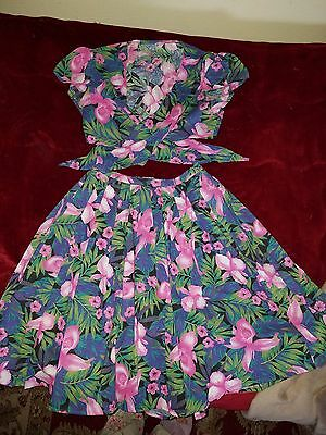 1950s hawaiin tropical play suit skirt tie top