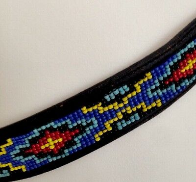 Vintage Silver Creek Collection Colorful Beaded Womens Leather Belt Size 30