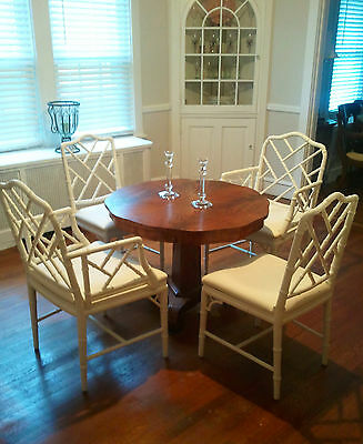 Chippendale Bamboo Style Chairs Set of 4 circa 1970s