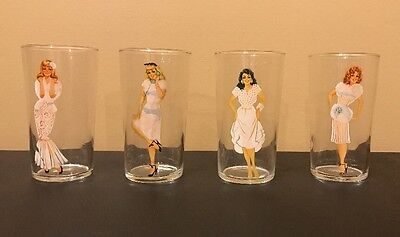 Set of 4 Vintage PINUP Cocktail Glasses MAGIC FOLLIES Girl BARWARE 50s Lot
