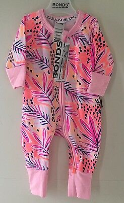 Size 000 Baby Girls Bonds Zippy wondersuit BNWT Pink Floral
