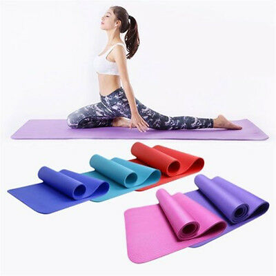 Yoga Gym Mat Pilates Training Thick Cushion Non slip Exercise Fitness 8MM/10MM