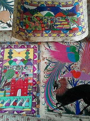 25 x Large Signed Mexican Papel Amate Paintings - Genuine 25 Years Old