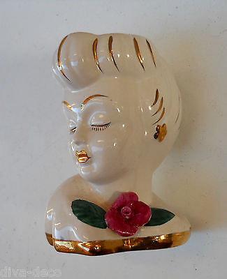 Vintage Lady With A Rose Head Vase