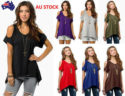 AU 8-20 Women Ladies Off Shoulder Short Sleeve Casual Tops Loose Shirt Plus Size