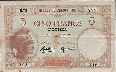 New Caledonia 5 Francs ND. 1926 P 36b Series H. 79 Circulated Banknote