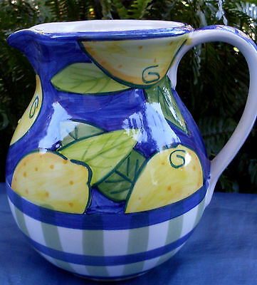 Rare A.SANTOS PORTUGAL Hand-painted MAJOLICA LEMONS Big Ceramic Jug VG - in Aust