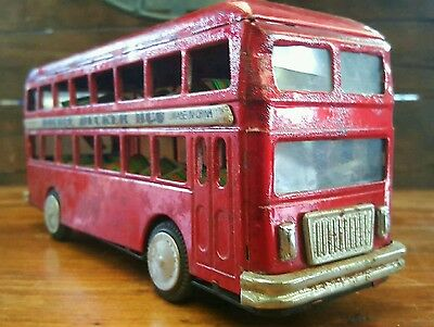 Vintage Tin Toy Double Decker Bus