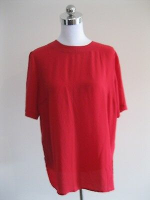 As New VINTAGE RED SILK BLOUSE TOP SHIRT