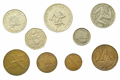 Isle Of Man, Decimal Coin Set, 9 Coins, Twenty Pence To Half-Penny, 1976-2001