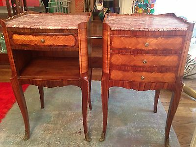 Antique Louis XV Style Wood Marquetry Marble Top Pair 2 Bedside Table Nightstand