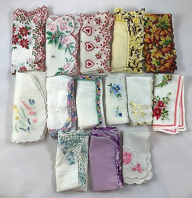 Lot of 14 Unused Vintage Handkerchiefs Embroidered Floral Various Sizes
