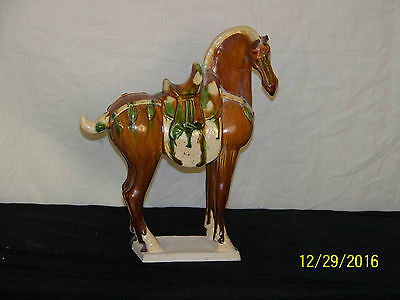 Chinese Tang Dy Style Sancai Glaze Fereghan Horse Statue Sculpture