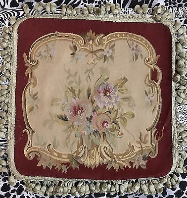 """ANTIQUE 19C AUBUSSON FRENCH HAND WOVEN TAPESTRY CUSHION 18"""" By 28"""""""