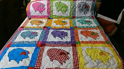 Handcrafted Handmade Appliqued Pieced Farm Pig Animal Baby Crib Lap Throw Quilt