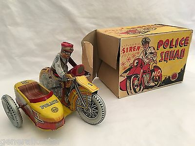1940's MARX POLICE SQUAD MOTORCYCLE/SIREN with ORIGINAL BOX - PERFECT!