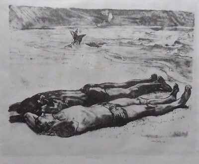 John Copley 1875-1950 Fine Original Signed Lithograph Sunbathers On The Beach