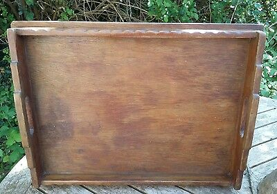 Antique ? Vintage Wooden Butlers Serving Tray Art Deco Era ? Scalloped Edges