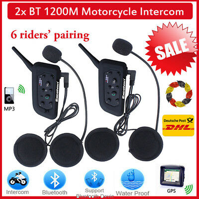 2X 1200M Bluetooth Motorrad Gegensprechanlage Headset 6Rider Interphone 120km/h