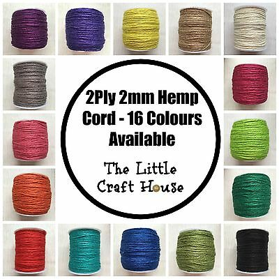 100m 100% Hemp Twine 2ply 2mm Assorted Colour Cord String Coloured Macrame Craft
