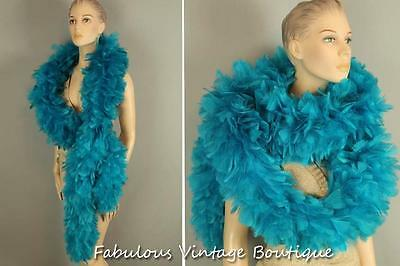 Showstopper Dance Flapper Style Bright Aqua Thick Lush Feather Boa Scarf 85""