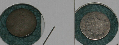 Pair of No Date Silver 3 Cent Coins