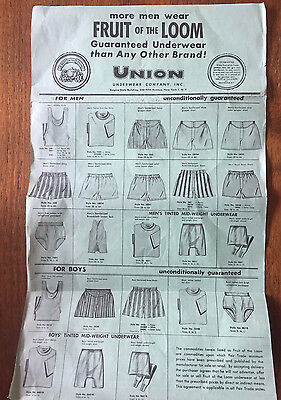 Vintage Fruit of the Loom Union Underwear Company Order Form Stamped 1953