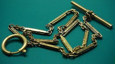 Antique gold filled pocket watch chain fob/T-BAR with large links 15 inch Long