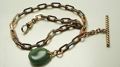 Antique  gold filled pocket watch chain's fob with large links 12 inch