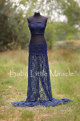 Maternity Photography photo shoot Gown Navy Lace Maternity Dress ONE SIZE