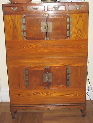 Antique Korean Chest-over-Chest - Elm Wood  and Brass Fittings-  From the 1850s