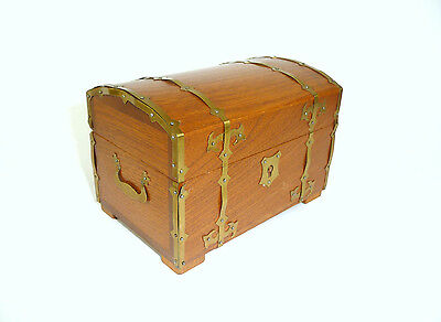 Antique unusual Wooden box with Brass fittings um 1930 Casket Tin B-4