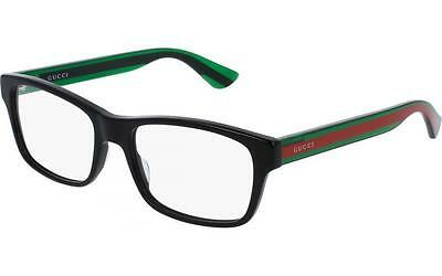 New GUCCI Eyeglasses GG0006O 006 55MM Black Frame Green Red Temple Fast Ship