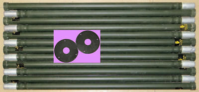 12 Stacking Aluminum 4' Mast Poles For Antennas Ribbed Camouflage & 2 Guy Rings