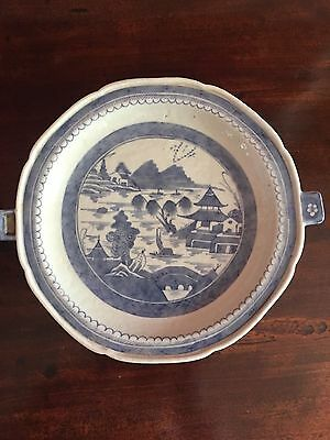 19th CENTURY ANTIQUE CHINESE BLUE AND WHITE PORCELAIN WARMING DISH