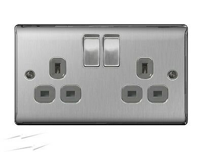 BG Electrical NBS22G - Stainless Steel Double Plug Socket 2 Gang Brushed Steel
