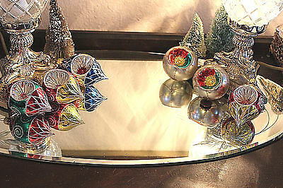 Vintage Lot 6 Glass Indent Ornaments Teardrop Round Balls Very Colorful