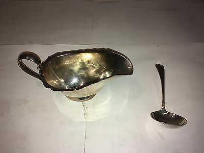 Antique Mappin & Webb Silver Plate Sauce Boat And Spoon