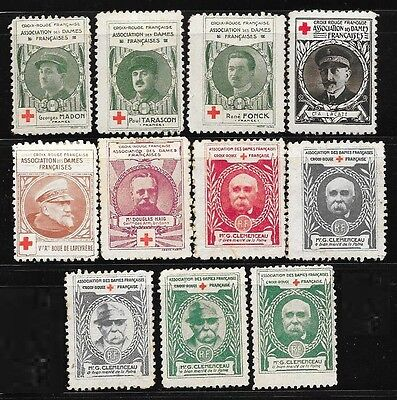 France lot 11 Red Cross charity stamps for I WW, 1914-1918, Clemenceau, generals