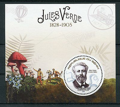 Benin 2017 MNH Jules Verne 1v S/S Mushrooms Writers Literature Stamps