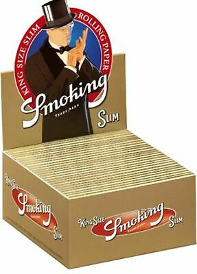 100 Cartine Smoking Gold Oro Slim King Size 100 Pz Libretti 2 Box