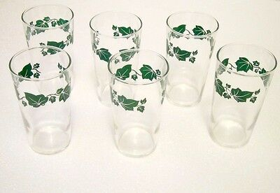 Small Juice glasses, Vintage, Ivy design  - 6 included in this listing