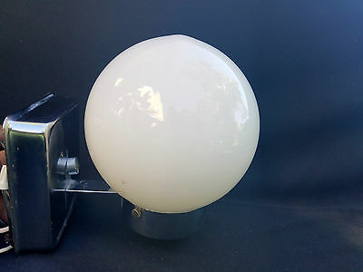 Vintage Mid-Century Chrome Milk Glass Globe Wall Light Fixture Bathroom Sconce