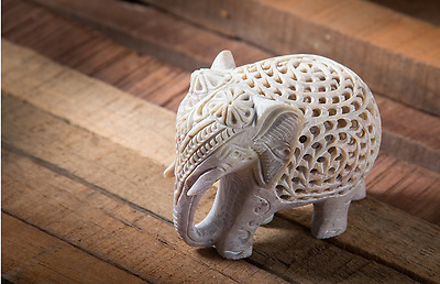 NEW Nested White Elephant Figurines Handmade Carved in Jali or Ope Block Decor