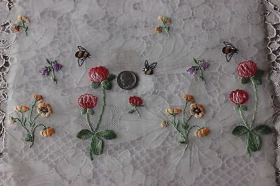 Antique Swiss Hand Embroidered Florals & Bees On Cotton Batiste Fabric Sample