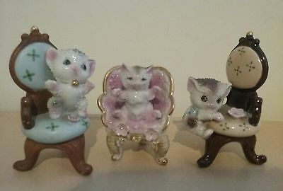 3 Vintage Porcelain Cat/Kitten on Chair Figurines Made in Japan
