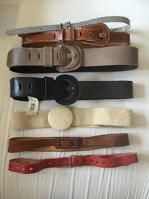 Job Lot Vintage Belts Leather 60s 70s 80s Red Brown Blue Grey Beige S M L